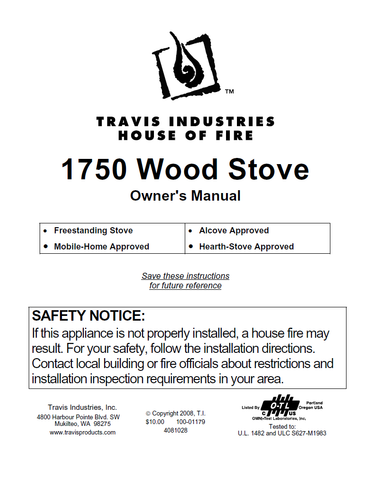Travis Industries 1750 User Manual - Wood_TI1750WS