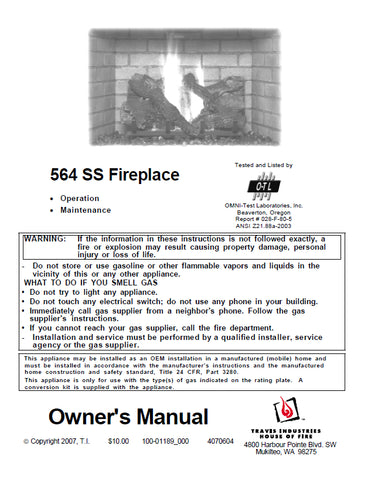 Travis 564 Space Saver Insert User Manual - Gas_564SS-OWN