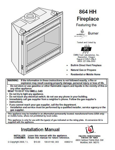 Travis 864 HH Insert Install Manual - Gas_864HHFireplaceInstall