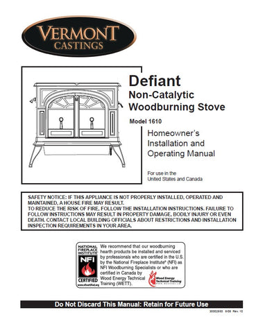 Vermont Castings Defiant 1610 User Manual - Wood_VCdefiant1610