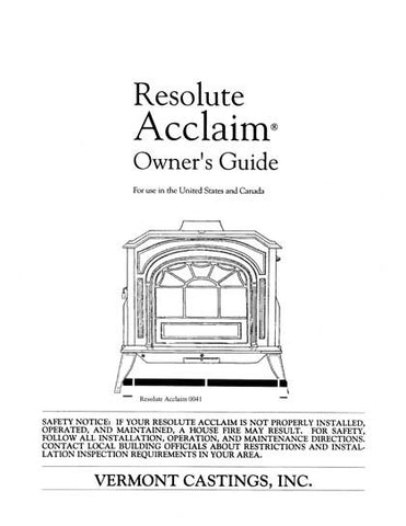 Vermont Castings Resolute Acclaim User Manual
