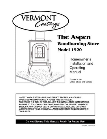 Vermont Castings Aspen 1920 User Manual - Wood_VCaspen