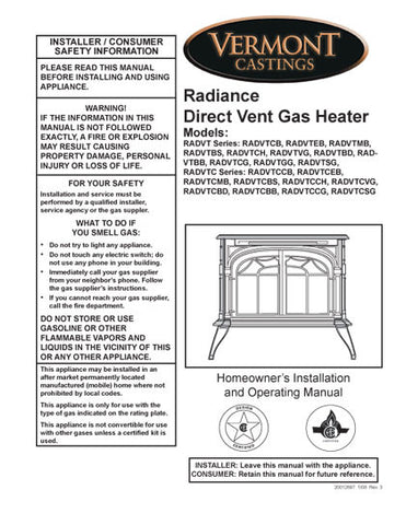 Vermont Castings Radiance DV User Manual - Gas_VCradian