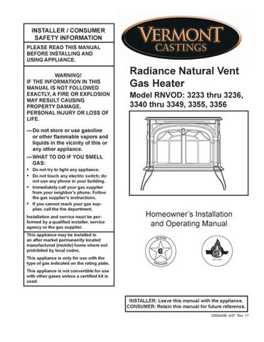 Vermont Castings Radiance NV User Manual - Gas_VCradianNV