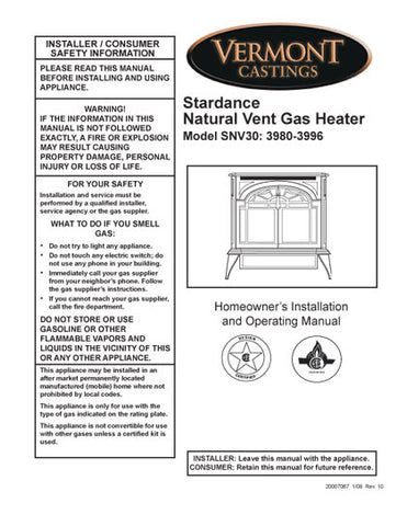 Vermont Castings Stardance NV User Manual - Gas_VCstarNV