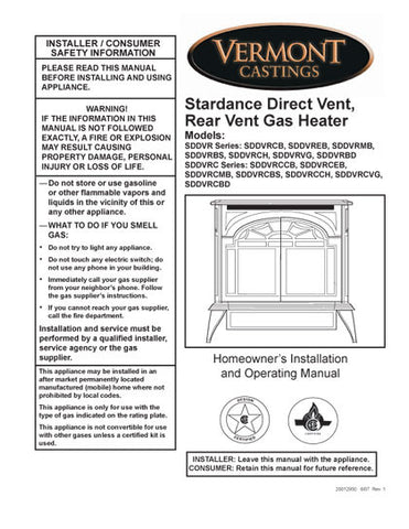 Vermont Castings Stardance Rear Vent User Manual - Gas_VCstarRV