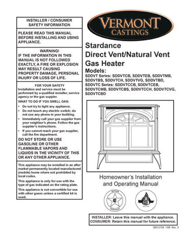 Vermont Castings Stardance Direc -Natural Vent User Manual - Gas_VCstarDV