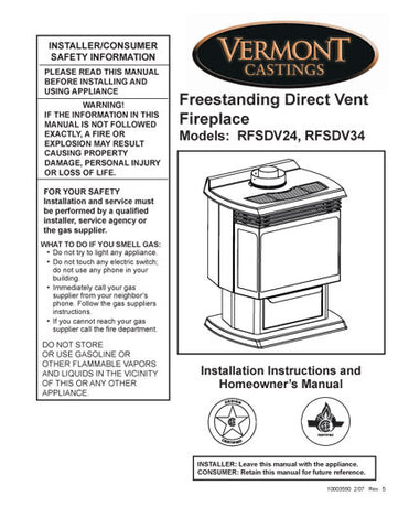 Vermont Castings RFSDV24, RFSDV3 User Manual - Gas_VCrfsd rfsdv34v