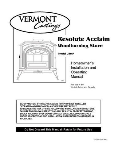 Vermont Castings Resolute Acclaim 2490 User Manual - Wood_VCresolute