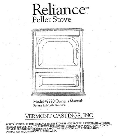 Vermont Castings Reliance 2220 User Manual - Pellet_Reliance 2220