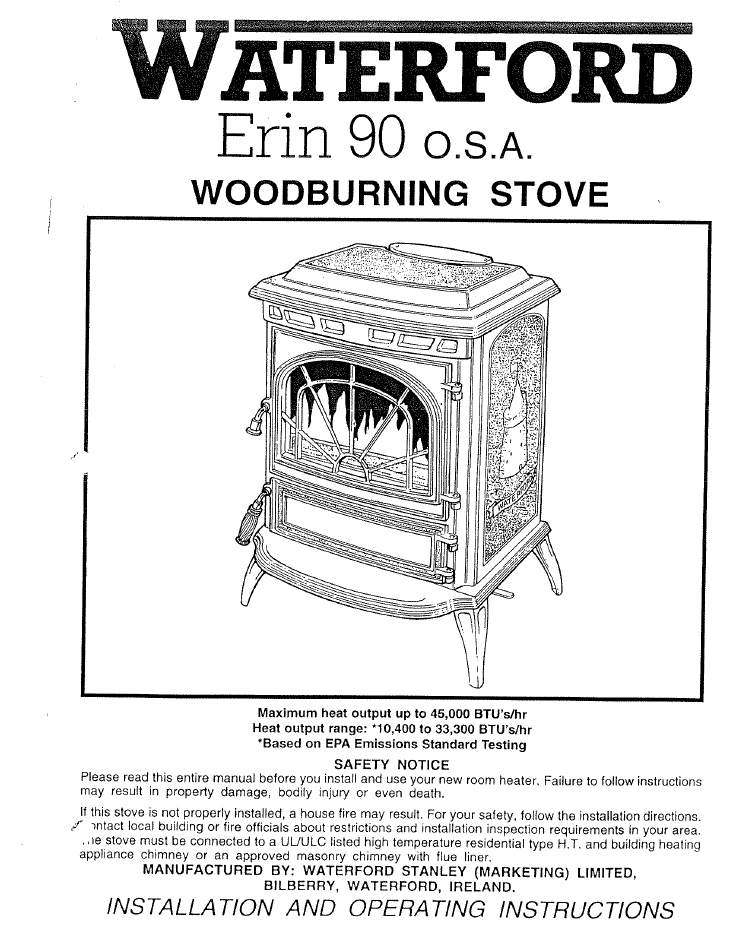 Waterford Erin 90 Osa User Manual Wood Wfe90osa