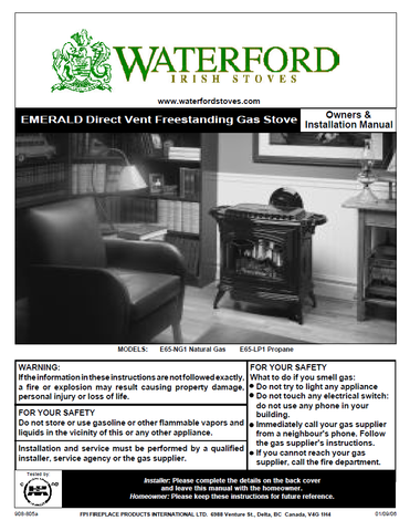 Waterford Emerald DV User Manual - Gas_WFEDVFS