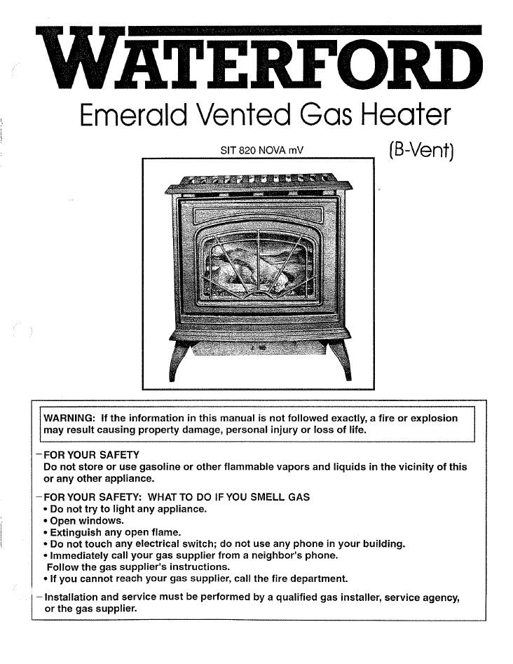 Waterford Emerald Bv User Manual Gas Wfebvfs