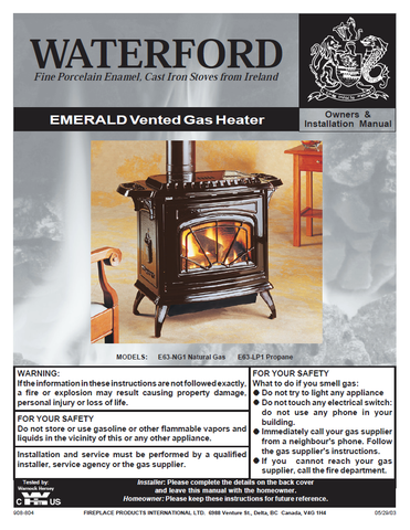 Waterford Emerald DV FS User Manual - Gas_WFEFS