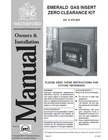 Waterford Emerald Insert ZC User Manual - Gas_WFEZCI