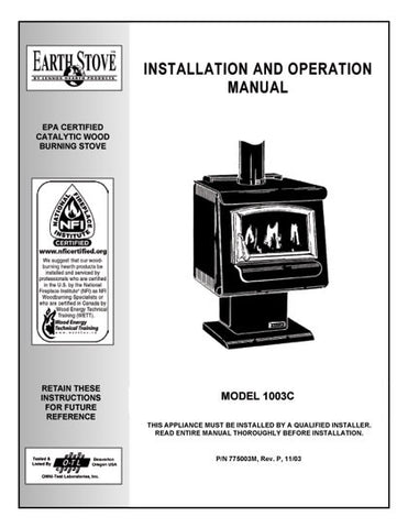 Earth Stove 1003C User Manual - Wood_es1003c