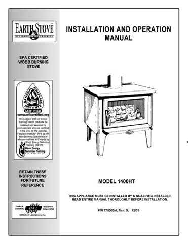 Earth Stove1400HT User Manual - Wood_bv1400ht