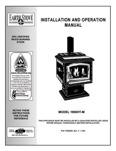 Earth Stove1900HT User Manual - Wood_bv1900ht