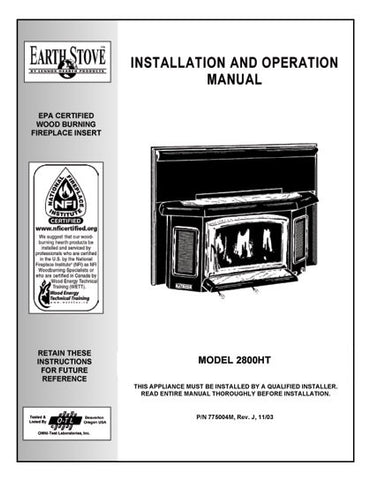 Earth Stove 2800HT User Manual - Wood_bv2800ht