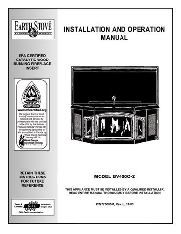 Earth Stove BV400C User Manual - Wood_bv400C