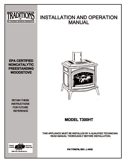 Earth Stove Traditions T300ht User Manual Wood Trad300ht