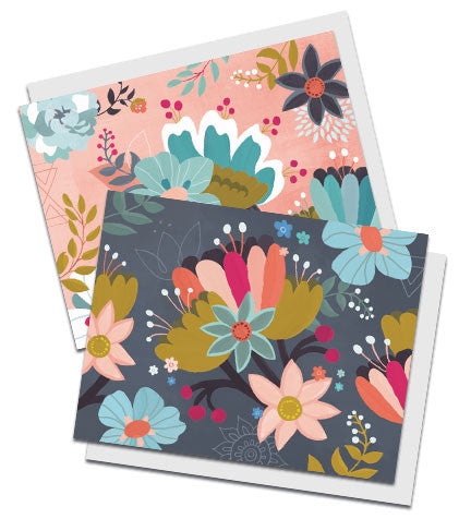 Boxed set of two floral notecards, entitled Garden Rhapsody