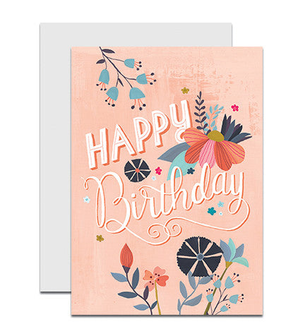 Image of hand lettered Happy Birthday greeting card