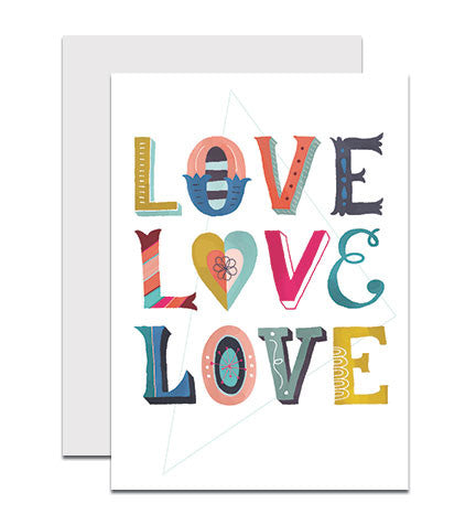 Hand lettered greeting card with the phrase 'Love Love Love'