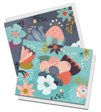 Boxed set of two floral notecards, entitled Lucent Blooms