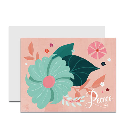 Holiday boxed notecards with the hand lettered word 'Peace'