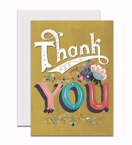 Greeting card with the hand lettered words 'Thank You'