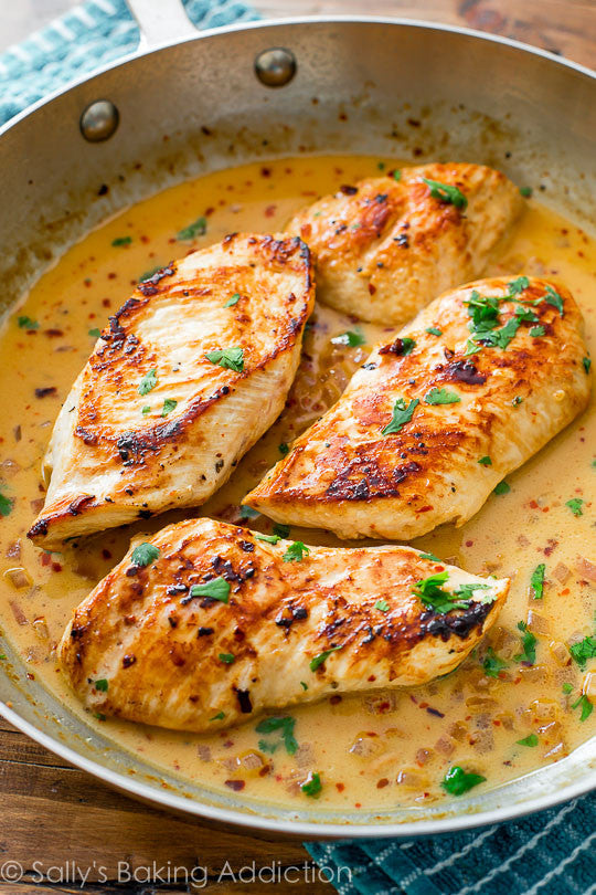 Skillet Chicken with Creamy Cilantro Lime Sauce 40 mins to make, serves 4