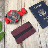 Red Leather Aluminum Metal Wallet