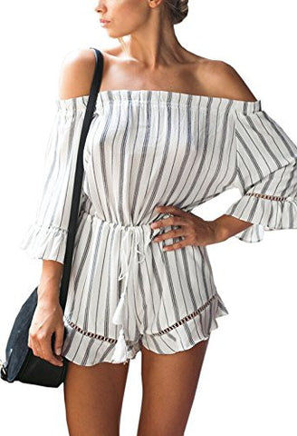 Women's Off shoulder Jumpsuit 3/4 Sleeve Striped Short Romper