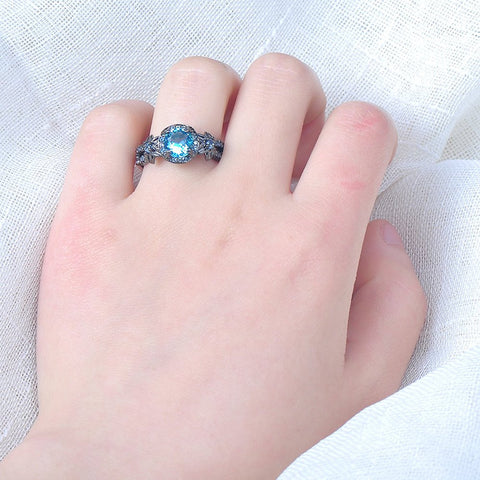 Black Gold Aquamarine Zircon Ring