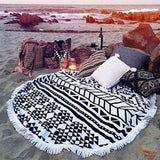 Fashion  Round Beach Towels Large Microfiber Printed Yoga Towel  With Tassel Serviette De Plage Toalla Circle Playa shawl - Slim Wallet Company