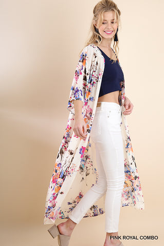 Tropical Belle Floral Kimono Cardigan Coverup