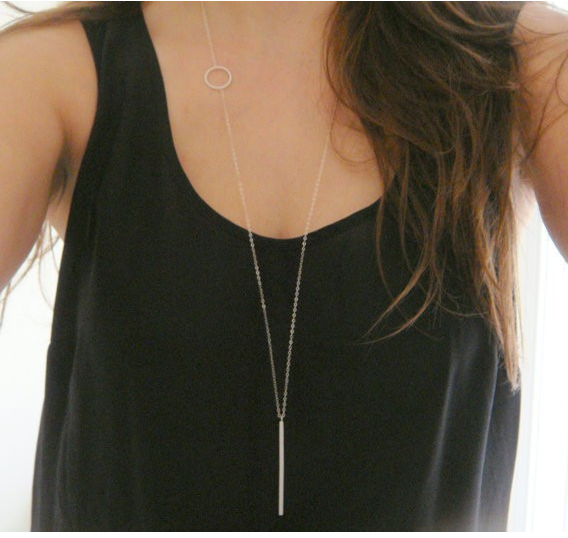 CIRCLE HOOP AND BAR LONG NECKLACE - Slim Wallet Company
