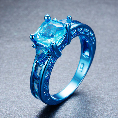 Blue Gold  Light Blue Aqua Zircon Ring