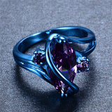 Mystic Blue Gold Ring with Purple Zircon Stone - Slim Wallet Company