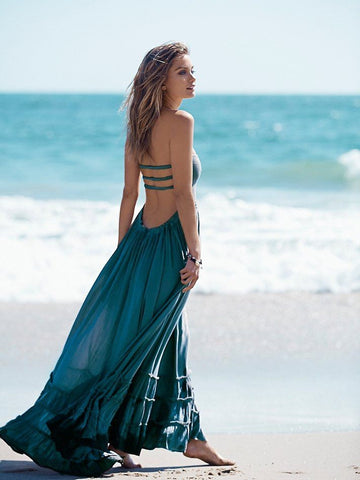 Bohemian Ruffled Maxi Fit and Flare Dress