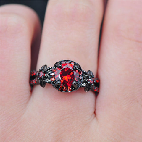 Black Gold Crimson Red Zircon Ring