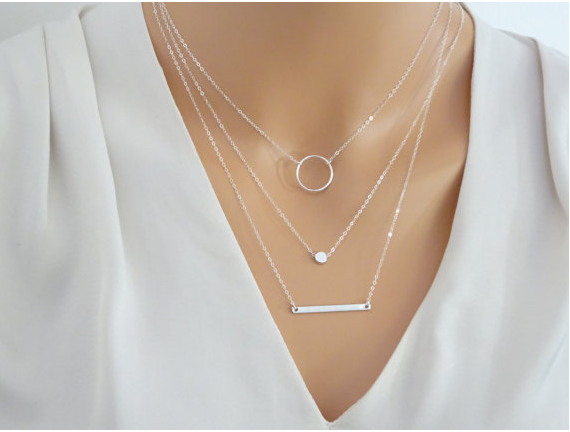 Silver/ Gold Layered Necklace Set