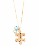 Mother Daughter Pendant Puzzle Necklace Gold Plated Set of Two Necklaces