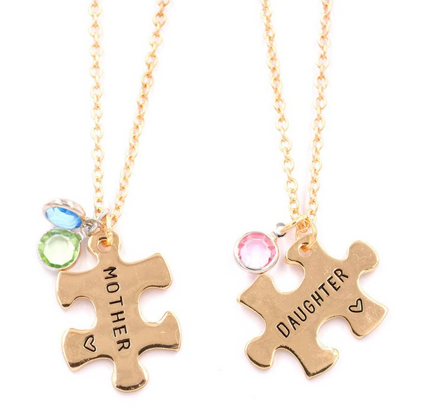 Mother Daughter Pendant Puzzle Necklace Gold Plated Set of Two Necklaces - Slim Wallet Company