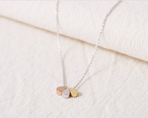 Teardrop Necklace, Gold, Silver, and Rose Gold Pendant