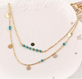 BohoTurquoise Layer Necklace - Slim Wallet Company