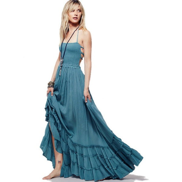 Bohemian Ruffled Maxi Fit and Flare Dress - Slim Wallet Company