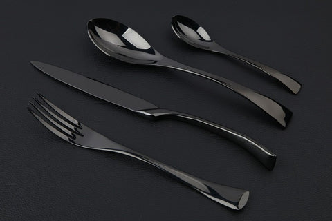 Diamond Black Cutlery - 4 Piece Set