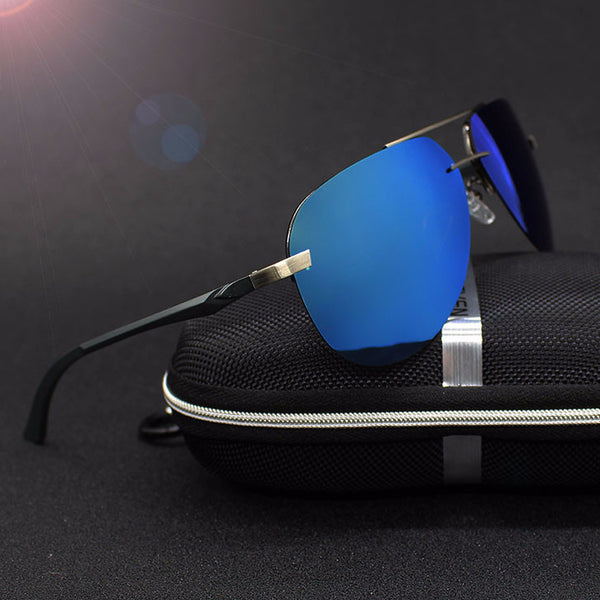 Aluminum Retro Aviator Polarized Sunglasses - Slim Wallet Company